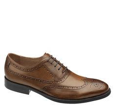 Johnston & Murphy: TYNDALL WINGTIP - Saddle Tan Italian Calfskin