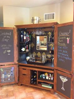 Armoire to Barmoire #Repurposedfurniture Instead of bar -coffee bar