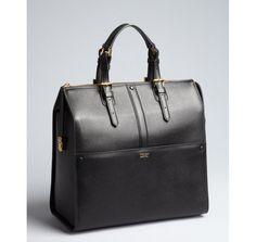 Giorgio Armani black grained leather buckled large top handle satchel