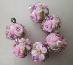 BLISS Pink and Lavender Rose Floral Abundance Lampwork Floral Bead Set