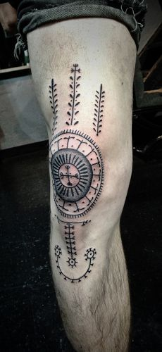 knee tattoo incorporatic Icelandic staves - Dan Bones