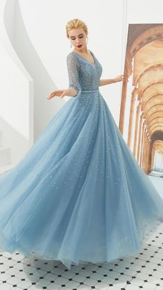 Prom Dresses With Sleeves, Black Prom Dresses, Blue Wedding Dresses, Ball Dresses, Pretty Dresses, Awesome Dresses, Blue Dress With Sleeves, Modest Prom Gowns, Blue Ball Gowns
