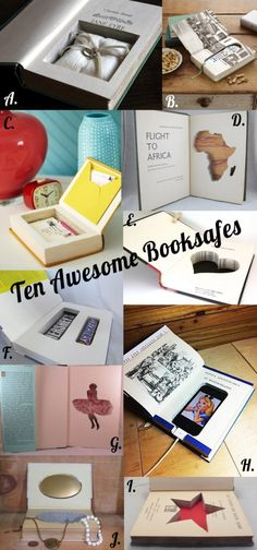 Hide your goodies in a Booksafe! Here are 10 awesome safes for inspiration and a tutorial on how to make your own! #DIY