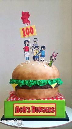 Bob's Burgers 100th Episode Celebration cake by The Butter End Cakery