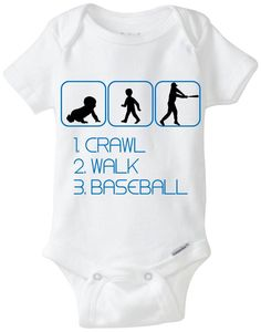 "Funny Sport Silhouette Baby Gift: Gerber Onesie brand body suit ""1. Crawl 2. Walk 3. Baseball"" - Perfect new baby gift for the Baseball Fan! by LittleFroggySurfShop on Etsy https://www.etsy.com/listing/175569690/funny-sport-silhouette-baby-gift-gerber"