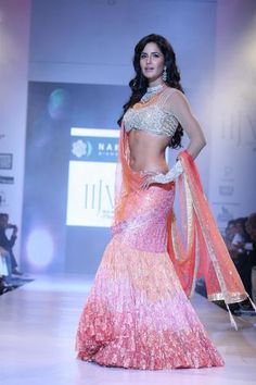 Gorgeous sheer sleeved mermaid lehenga