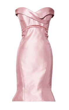Silk Strapless Geometric Dress by Zac Posen Now Available on Moda Operandi  Dusty Rose Dress 978d21831e31