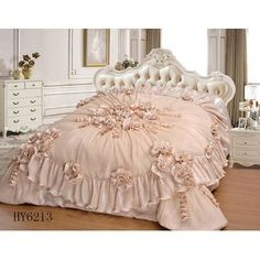 Tache Home Fashion 6 Piece Comforter Set Size: Cal King Ruffle Bedding, Pink Bedding, Luxury Bedding, Bedroom Comforter Sets, Bedroom Sets, Bedroom Decor, Home Design, Royal Bedroom, Shabby Chic Bedrooms