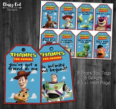 Toy Story Thank You Tags, Toy Story Party Tags, Toy Story Favors, Woody and Buzz Lightyear Favors, Printables, Toy Story Instant Download by ClassyOwlDesigns on Etsy https://www.etsy.com/listing/455012362/toy-story-thank-you-tags-toy-story-party