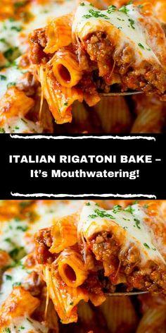 Rigatoni Recipes, Baked Rigatoni, Pasta Recipes, Dinner Recipes, Cooking Recipes, Baked Pasta Dishes, Italian Sausage Recipes, Italian Dishes, Kitchens