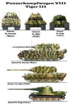 PANZERKAMPFWAGEN VIII MAUS - the Colossal Tank Various designs by major German tankfactories.