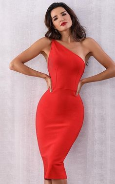 To find out about the Adyce Double Strappy One Shoulder Bodycon Dress at SHEIN, part of our latest Dresses ready to shop online today! Red Bandage Dress, Red Midi Dress, The Dress, Bodycon Dress, Pencil Dress, Peplum Dresses, Tight Dresses, Sexy Dresses, Party Dresses