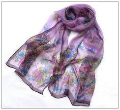 779de2d2852 34 Best Silk Chiffon Scarves images in 2018 | Chiffon scarf, Floral ...
