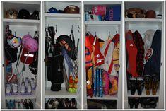 locker system. garage kids?  one locker per sport (water toys baseball, bike helmets, gardening)