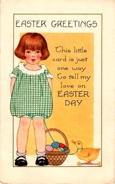 Girl with Toy Duck vintage Easter card Easter Art, Easter Crafts, Vintage Easter, Vintage Holiday, Vintage Greeting Cards, Vintage Postcards, Vintage Magazines, Jessie Willcox Smith, Fete Pascal