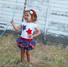 4th of July outfit for little girl! Polka dot Star shirt and ruffle skirt! So cute for the Fourth!