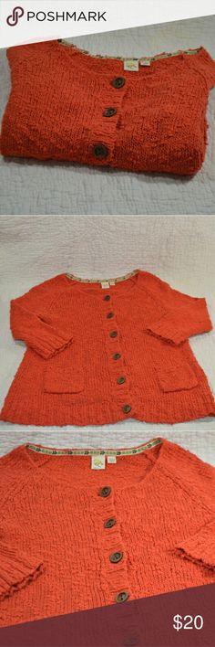 Anthropologie YELLOW BIRD Cardigan Sweater (12-47) Anthropologie YELLOW BIRD Cardigan Sweater Nubby Knit Cotton Orange Texture Sz M Anthropologie Sweaters