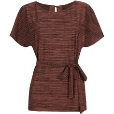 Warehouse Space Dye Belted Tunic Top ($43) ❤ liked on Polyvore featuring tops, tunics, red, brown tops, belted tunic, zipper top, brown tunic and belted top