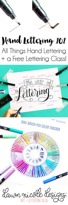 Hand Lettering 101 | A guide to all things hand lettering and calligraphy + a free class and practice sheets! DawnNicoleDesigns.com