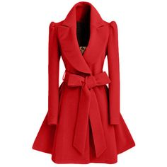 2016 Winter New Fashion Notched Lapel Coat with Bow Tie Belt ($44) ❤ liked on Polyvore featuring outerwear, coats and red coats