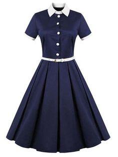 FavorGraces Polo Neck Vintage Casual Retro Swing Dresses Navy Blue M ** Check out this great product. Trendy Dresses, Simple Dresses, Plus Size Dresses, Cute Dresses, Casual Dresses, Short Dresses, Fashion Dresses, Party Dresses, Classic Dresses