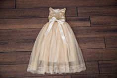 Hey, I found this really awesome Etsy listing at https://www.etsy.com/listing/292839869/champagne-cream-flower-girl-dress-gold