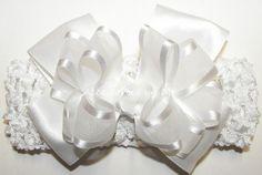 Baptism Frilly White Organza Satin Bow Headband
