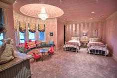 Traditional Kids Bedroom with Carpet, French empire crystal chandelier, Fashion bed group dexter metal headboard, Chandelier