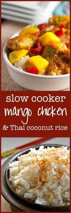 Slow Cooker Thai Mango Chicken. One of our favourite family meals, now made even easier by cooking it in a crockpot!