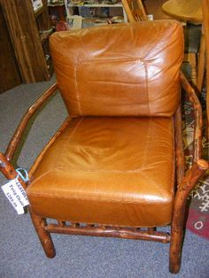 Fabulous Leather Chairs with twig trim, arms and legs - Nex-Tech Classifieds
