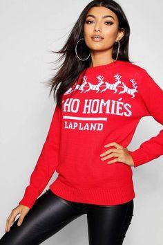 77b5a2284a44 Ho Ho Homies Christmas Jumper Boohoo, Graphic Sweatshirt, Skinny, Christmas  Jumpers, Christmas
