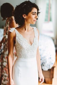They Planned The Perfect Backyard Wedding — & Then It POURED The bride went with a two-piece dress b Wedding Dress Black, Two Piece Wedding Dress, Minimalist Wedding Dresses, Wedding Dress Sleeves, Long Sleeve Wedding, Stunning Wedding Dresses, One Shoulder Wedding Dress, Princess Wedding Dresses, Wedding Dress Styles