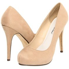 Michael Antonio Love Me - Suede 2 (Nude) High Heels ($35) ❤ liked on Polyvore featuring shoes, pumps, heels, beige, suede slip on shoes, suede shoes, beige high heel pumps, nude high heel shoes and slip-on shoes