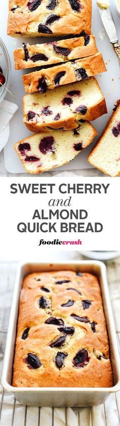 Dark, sweet cherries are added to an almond flavored batter for a quick bread that's a sweet treat to eat and share with friends. Easy Desserts, Delicious Desserts, Dessert Recipes, Yummy Food, Brunch Recipes, Drink Recipes, Fall Recipes, Cherry Recipes, Cherry Desserts