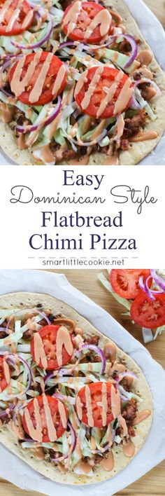 Easy Dominican Style Flatbread Chimi Pizza ~ Inspired by the popular Dominican burger, Chimi, traditionally served by street vendors in the Dominican Republic, this pizza is made with flatbread, sausage, cabbage, onions, tomatoes and a mayo-ketchup sauce. www.smartlittlecookie.net #pizza #ad #FlatoutLove