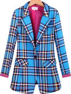 Blue Lapel Long Sleeve Plaid Pockets Blazer - Sheinside.com
