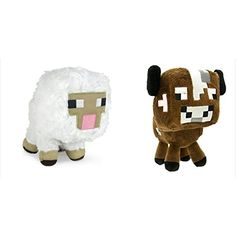 Official Minecraft Overworld 7 Plush SET of 2: Baby Cow and Baby Sheep