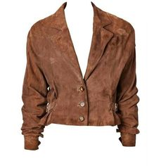 Pre-owned Shamask Suede Bomber Jacket ($1,095) ❤ liked on Polyvore featuring outerwear, jackets, tops, brown, blouson jacket, flight jacket, shamask, buckle jackets and bomber jacket
