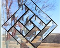 Clear Bevel Stained Glass Sun Catcher 5 x Square Stained Glass Flowers, Faux Stained Glass, Stained Glass Designs, Stained Glass Panels, Stained Glass Projects, Stained Glass Patterns, Beveled Glass, Mosaic Glass, Fused Glass