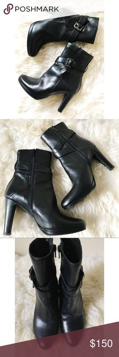 "Sesto Meucci Black Italian Leather Ankle Booties Black Sesto Meucci Dawn Ankle Buckle Booties -- GORGEOUS Italian leather wraparound buckle booties! 3.5"" covered heel, 1/4"" platform, equals 3 1/4"" heel. Made in Italy. These boots are amazing on and in excellent condition. Very gently worn, hard time letting these go 😭 Retail for over $315 at Neiman Marcus Sesto Meucci Shoes Ankle Boots & Booties"