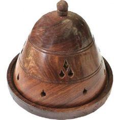 porte encens en bois, forme de cloche fait main, porte encens indien pour encens en cones