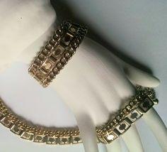 Vintage Necklace Bracelet Set Dark Gold Tone Bride Bridesmaid Wedding Jewelry Jewellery Gift for Her