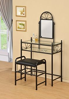 3-Piece Metal Make-Up Heart Mirror Vanity Dresser Table and Stool Set, Black eHomeProducts http://www.amazon.com/dp/B016GMH3XM/ref=cm_sw_r_pi_dp_JXRUwb0ZHR543