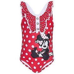Disney Store Minnie Mouse Swimsuit Red White Polka Dot Girls Swimwear One Piece