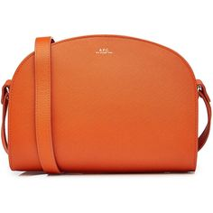A.P.C. Half Moon Leather Shoulder Bag (€300) ❤ liked on Polyvore featuring bags, handbags, shoulder bags, orange, handbags shoulder bags, leather shoulder bag, leather hand bags, orange leather handbag and leather man bags