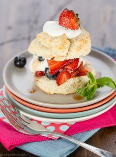 Balsamic Berry Shortcakes with Greek Yogurt Whipped Cream