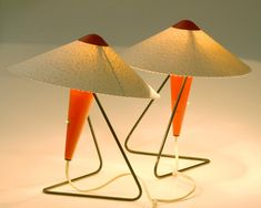 Red Lacquered Table Lamps by Helena Frantová for Okolo, 1953, Set of 2 1