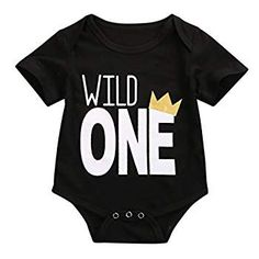 Baby Boys Long Sleeve Wild One First Birthday Bodysuit Romper Outfits (70(0-3 Months))