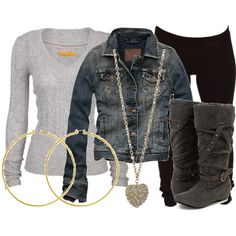 Kinda cute, but I would switch out leggings for denim jeggings, and switch out hoop earrings to black studs