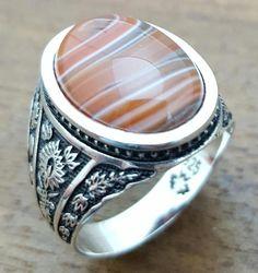 Handgemachte Mens Silberring mit natürlicher Achat Stein